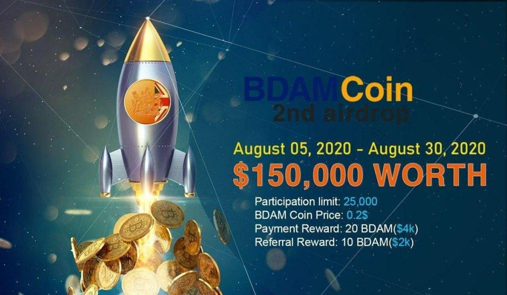 BDAM #Airdrop   Reward = 20 BDAM ~ $4  Ref. Bonus = 10 BDAM ~ $2   Link:      C... 10