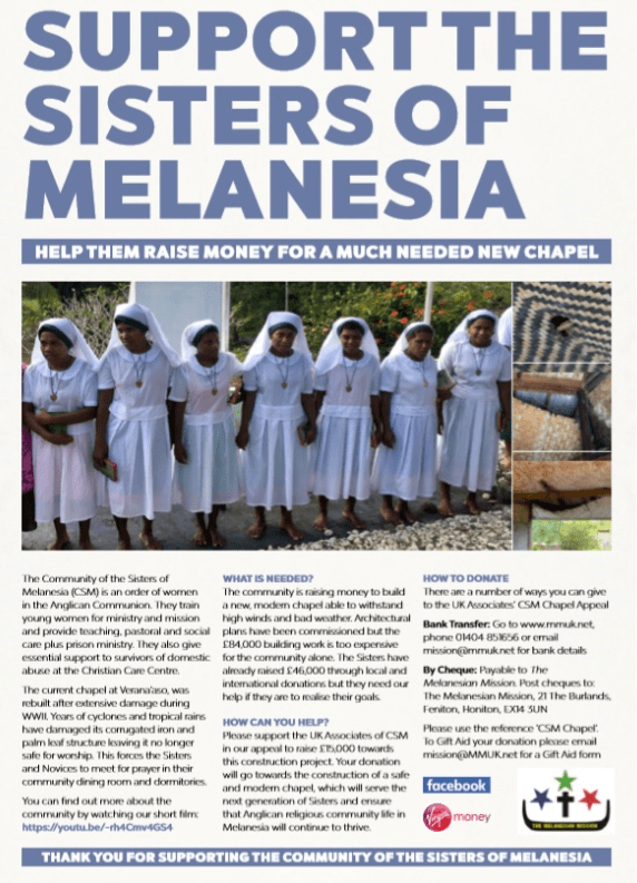 UK friends and Associates of the Community of the Sisters of Melanesia (CSM) are raising money to help the community build a replacement chapel at…