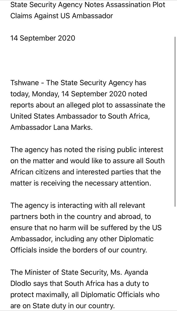 "Following @politico's story, South African officials say they have now spoken w/ US counterparts on the claim that #Iran wanted to assasinate the Amercian Amb. in SA. They say the intel US side shared ""is not sufficient to sustain the allegation that there is a credible threat"" https://t.co/1foSaRKGYJ"