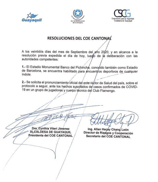 Documento que libera o estádio do Barcelona para a partida de logo mais. #FLAENM