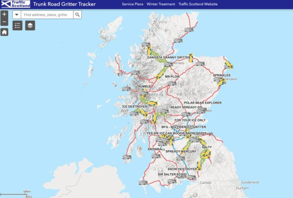 Map of Scotland with snowplow routes hightlighted and snowplow names listed next to icons of trucks on the routes.