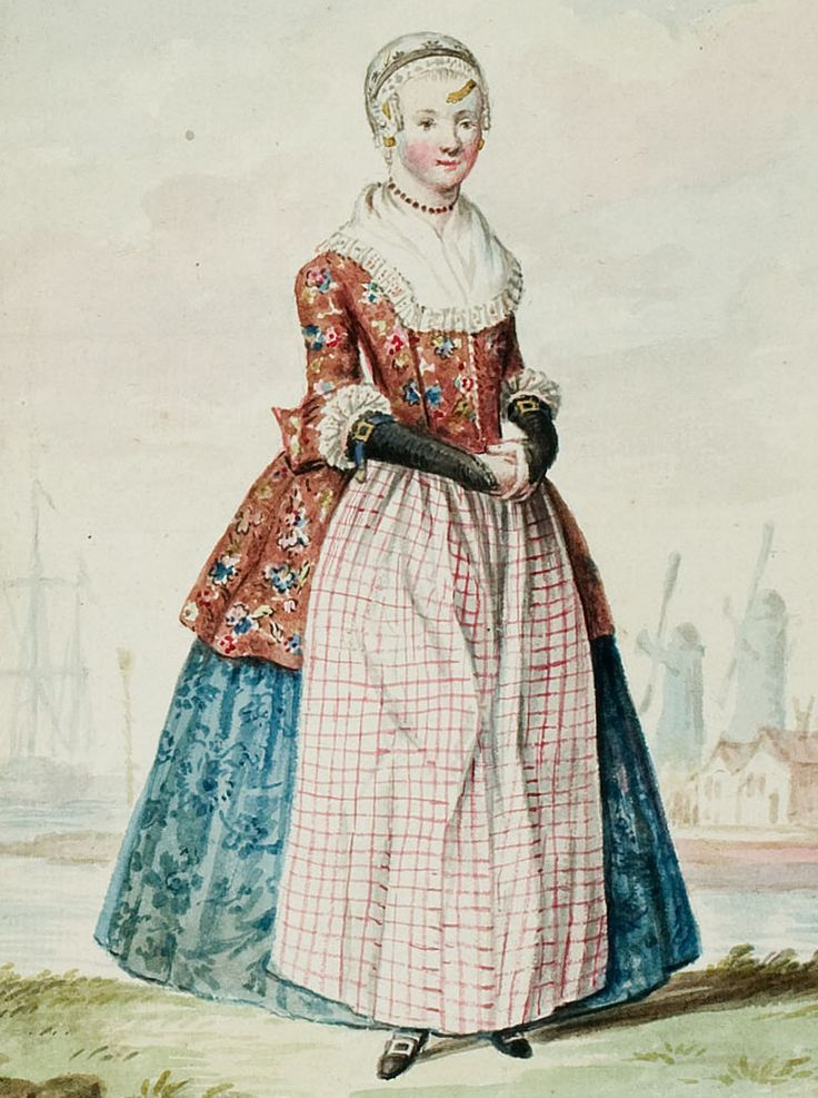 Sketch of 1770s Dutch woman's outfit with caraco (chintz) jacket - Public domain