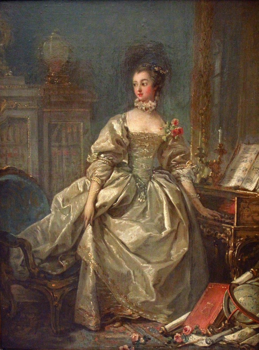 La marquise de Pompadour par François Boucher (1ère moitié 18e siècle) Paris, Musée du Louvre - Public Domain A woman with lots of hair in shimmering taffeta.