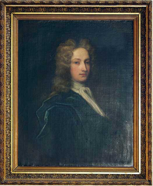 This dude was named Scroop. For real. Man in a powdered wig in a gold frame. Public Domain.