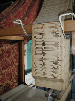 A Jacquard Loom punch card -- via Wikipedia, public domain.