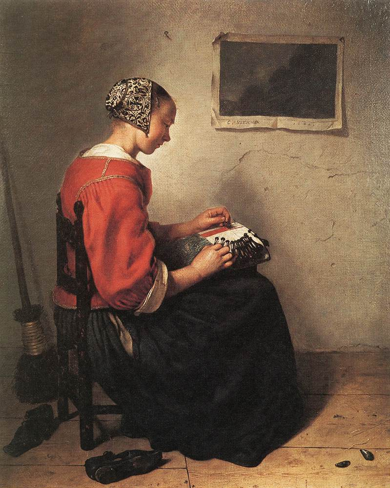 The Lace Maker (1662) by Caspar Netscher. Although this work shares with Vermeer a sense of quiet solitude, it hints at sexual overtones unvisited by the later artist. A woman in a red jacket and lace cap working bobbin lace.