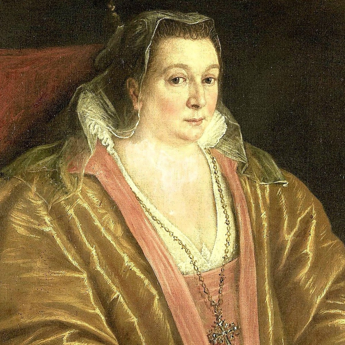 Leandro Bassano - Portret van een vrouw, waarschijnlijk Morosina Morosini, de echtgenote van Marino Grimani, doge van Venetië - woman in gold satin and lace looking askance at the painter, with veil and large cross. Public domain.