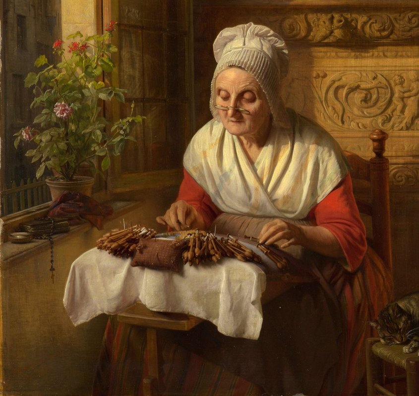 Lace-maker image Josephus Laurentius Dyckmans (1811-88) - The Lace Maker - RCIN 406575 - Royal Collection -- old woman making lace with bobbins