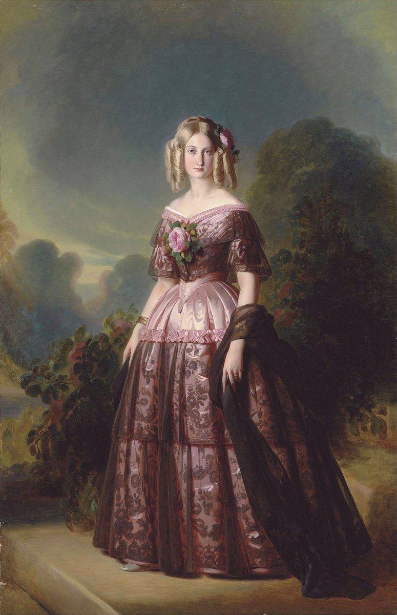 Princesse Marie Caroline Auguste de Bourbon-Deux Siciles - public domain  - Woman in Chantilly lace over a pink satin gown