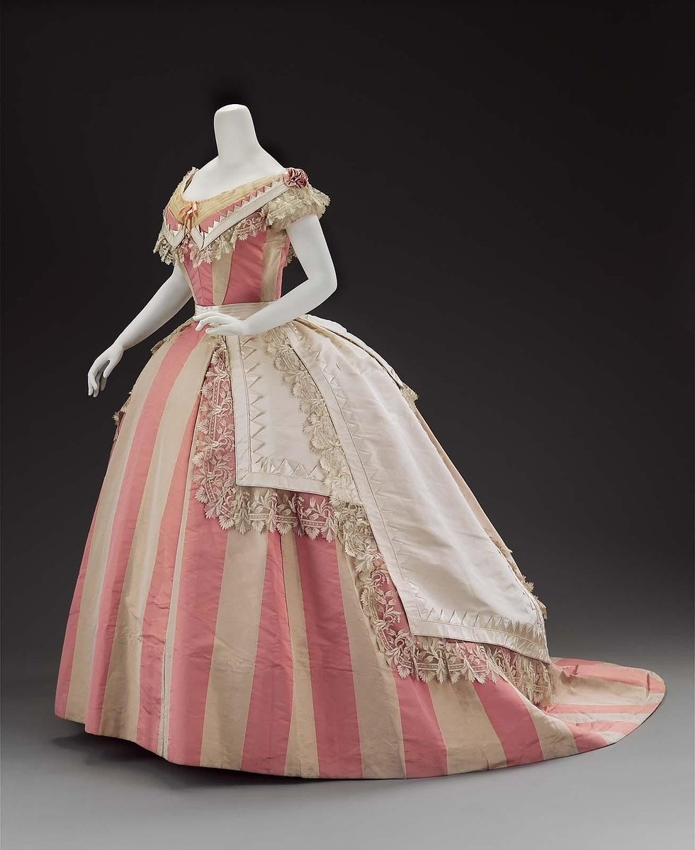 Woman's evening dress Maker: Mme. Roger (French, active in mid-19th century) French (Paris)  about 1865   Boston MFA, public domain