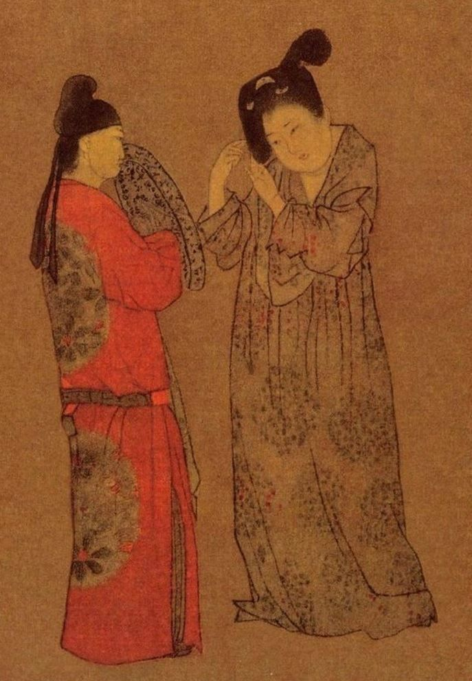 You can see the pattern on this Tang Dynasty painting--the woman doing her hair. Public Domain.