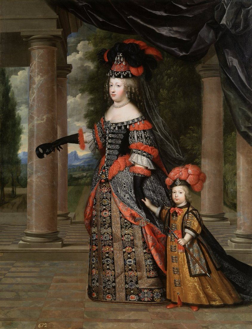 Queen Marie Thérèse and her son the Dauphin of France, dated circa 1663 by Charles Beaubrun - fancy fancy fancy with feather hats