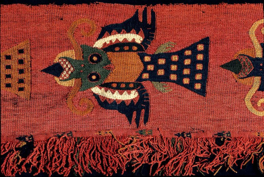 Geometric bird-like creatures on a bright red background. From BFA Museum.