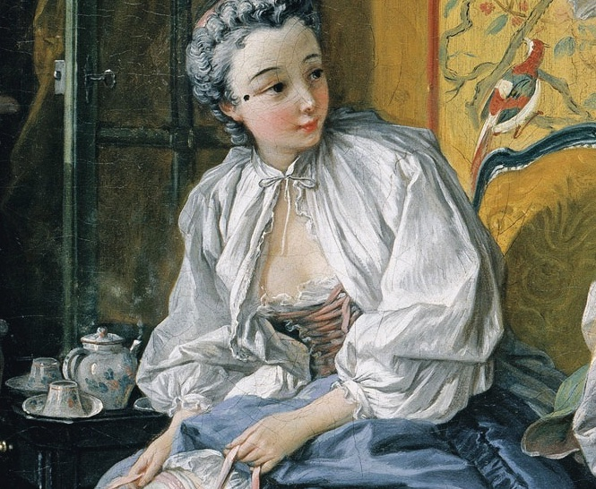 Boucher toilette 1742 - a woman with a mouche in her changing room, pulling on her stockings.