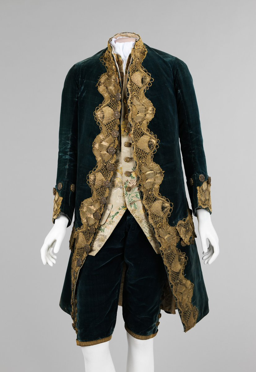 Teal and gold, ornately designed men's ensemble - via the Boston MFA.