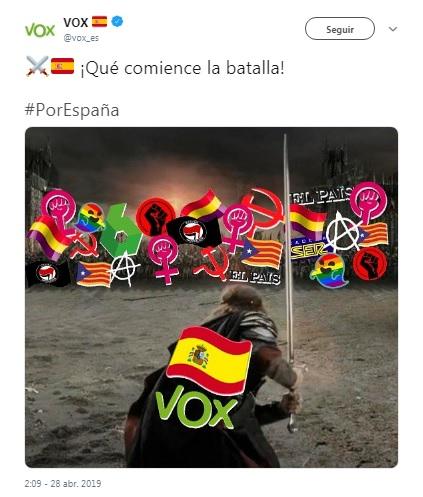 """Toma La Palabra on Twitter: """"@alberbustos: """"Vox es el partido que abría la  jornada electoral de las elecciones generales de 2019 con un mensaje en  twiter en el que decía: ¡Qué comience"""