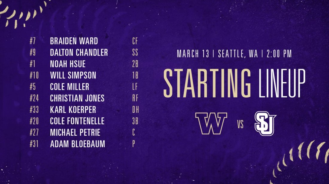 test Twitter Media - 1 hour until first pitch at Husky Ballpark!  Here's how the Dawgs are lining up against Seattle U this afternoon  💻 https://t.co/6O5GqDCRbM 📊 https://t.co/Q3iKSRgVlA  #DaWgStrong /// #GoHuskies https://t.co/9lMN9G6X41
