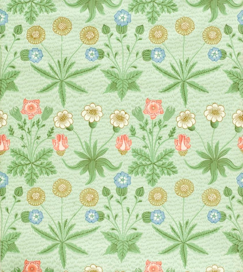 William Morris wallpaper using arsenic-laced greens. Botanical repeating flowers on a green background; blossoms in yellow, blue, and red: roses and chrysanthemums. Public Domain.