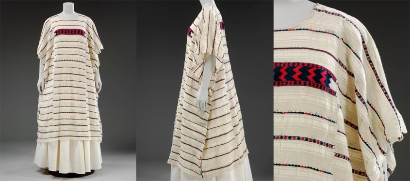 1875 – 1890, Oaxaca state, Mexico. Bequeathed by Alfred Percival Maudslay. Museum no. T.38-1931. © Victoria and Albert Museum, London. A kaftan-like textile in long, horizontal white and red stripes, with a zigzag pattern across the chest.
