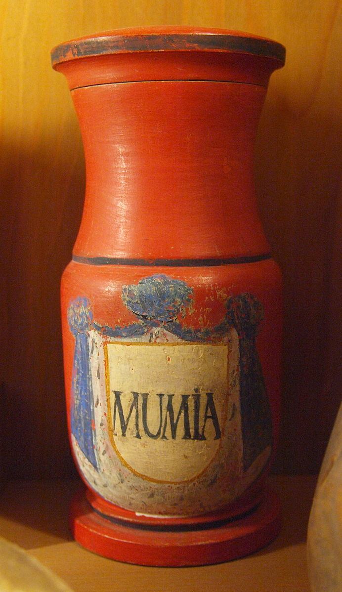 """A bright orange bottle of """"Mumia"""" pigment. From, you guessed it, mummies. Dating from the 19th century."""
