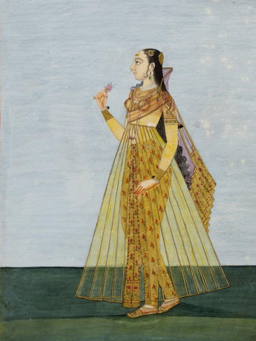 Painting, in opaque watercolour on paper, depicting a Muslim lady, in Deccani style. (c)Victoria and Albert Museum, London