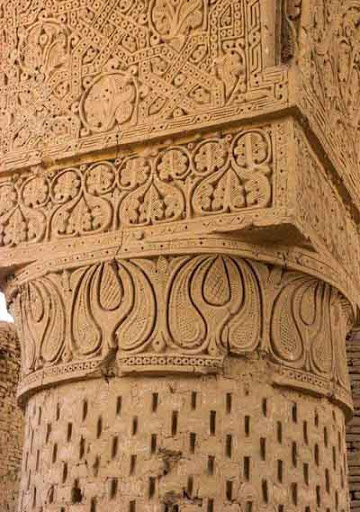 Creator: Photographer © Jane Sweeney / LPI  - A column from a mosque in Afghanistan with paisley motifs along the crown.