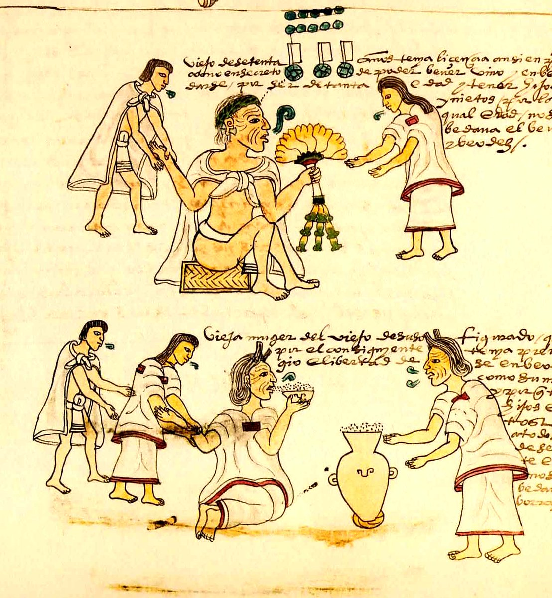 A descriptive cartoon of the Aztec people goin about daily life, in various states of clothing. Most are wearing robes, and some are clad in loincloths. Public domain via Wikipedia.