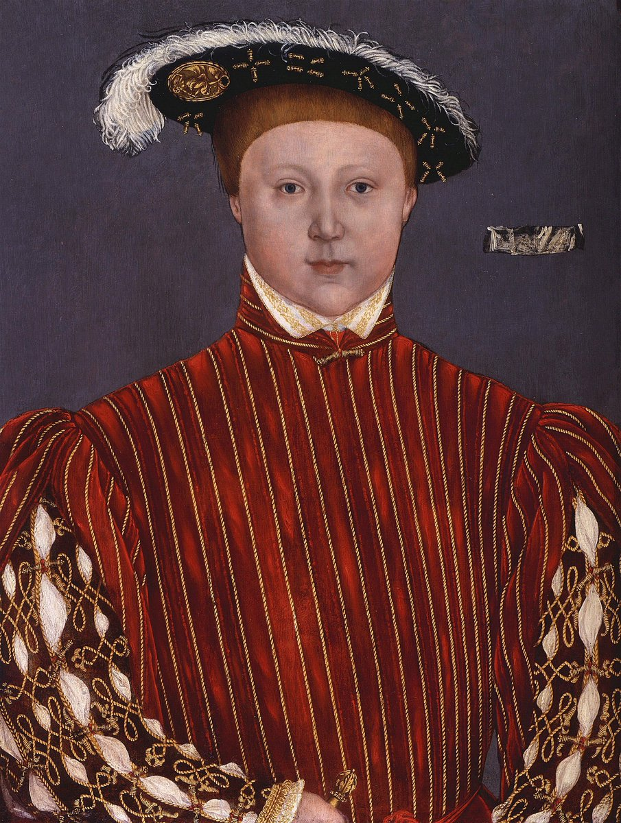 Portrait of Edward VI of England wearing a striped doublet in red velvet and gold piping. Public domain.