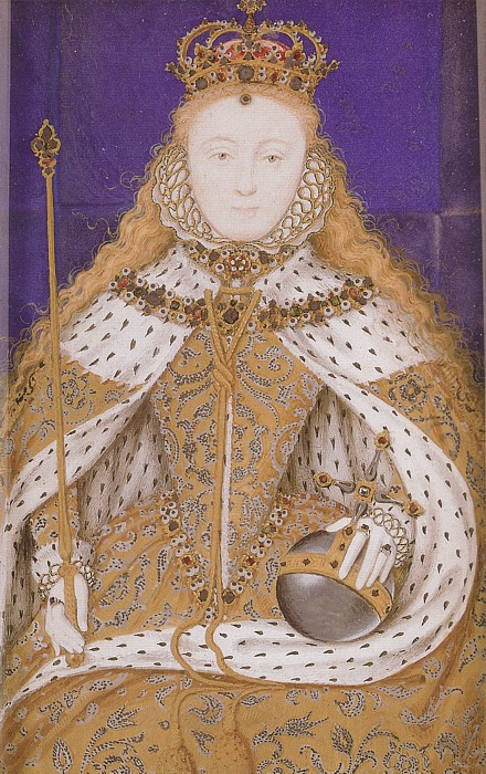 A portrait miniature of Elizabeth I's coronation gown, similar to the previous picture, but in less detail. This would have been a smaller item to wear, on enamel, rather than a portrait.