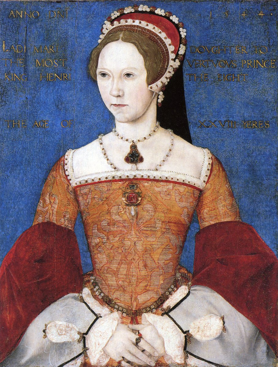 Young Mary I of England in a damask gown, hood, and hat. She looks much like her sister Elizabeth, but with a stronger brow. She is posed demurely, wearing the conical shaped stays popular of the time.