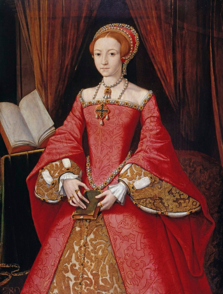 Elizabeth as princess, wearing a red gown over a gold underdress. She is wearing a hood and pearl jewelry, and looks like a real person rather than an icon here.