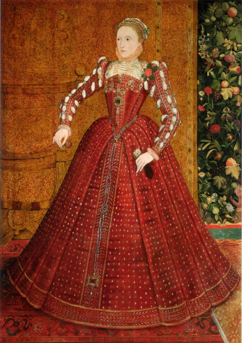 The Hampden Portrait of Elizabeth I, 1560s - Elizabeth I in a traditional pose and red satin gown with ruffed sleeves, a small ruff. The dress is very ornate, and she looks decidedly uncomfortable.