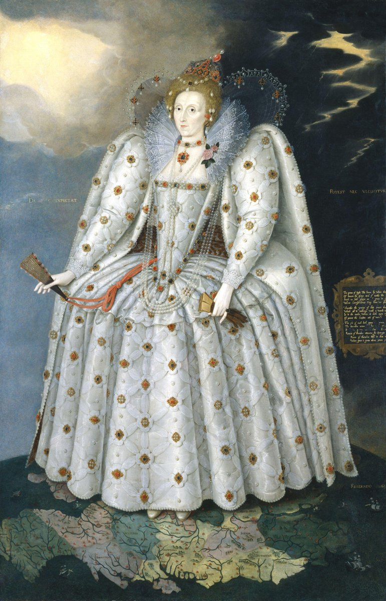 """The painting is attributed to Marcus Gheerearts the Younger, and was almost certainly based on a sitting arranged by Lee, who was the painter's patron. In this image, the queen stands on a map of England, her feet on Oxfordshire. The painting has been trimmed and the background poorly repainted, so that the inscription and sonnet are incomplete. Storms rage behind her while the sun shines before her, and she wears a jewel in the form of a celestial or armillary sphere close to her left ear. Many versions of this painting were made, likely in Gheeraerts' workshop, with the allegorical items removed and Elizabeth's features """"softened"""" from the stark realism of her face in the original."""