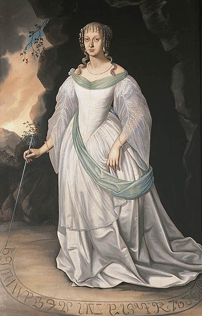 A portrait of the Dame Blanche, Perchta von Rosenberg. She wears a marvelous gown of white silk, has ringleted hair, and stands in a circle, writing something at the bottom.