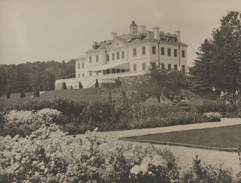 The expansive home of write Edith Wharton, and the garden grounds around it. It is up on a hill, and it is where she spent years of her life.