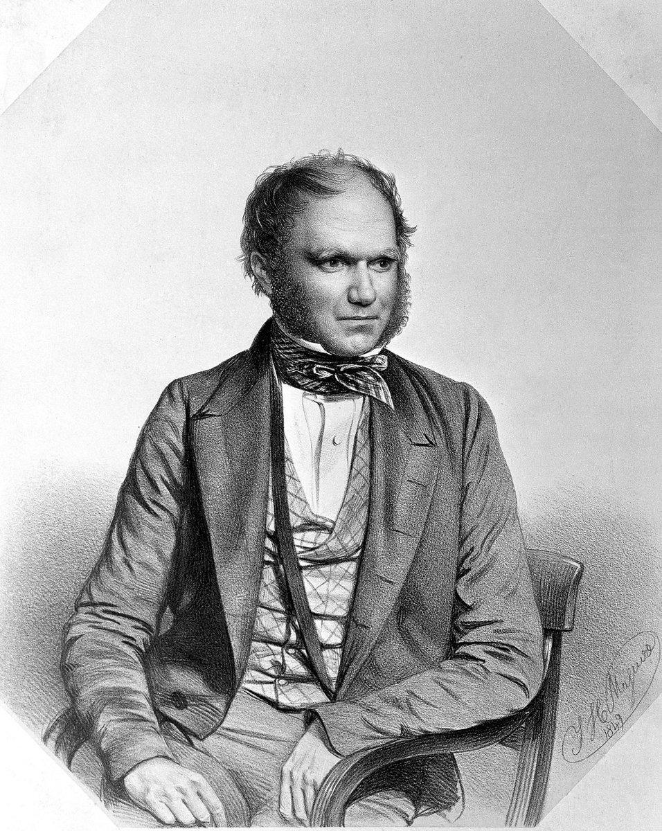 Darwin, seated, in a waistcoat and cravat. He has bushy eyebrows and no beard yet.