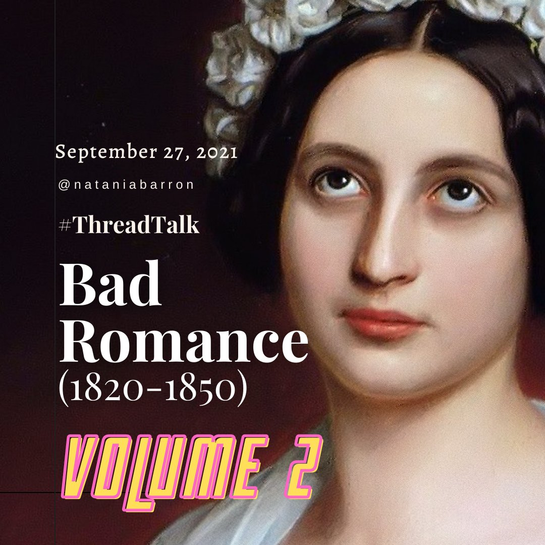 September 27, 2021 - @nataniabarron, #threadtalk - Bad Romance, 1820-1850, Volume 2. A woman looking Skyward with a crown of white flowers on her head.