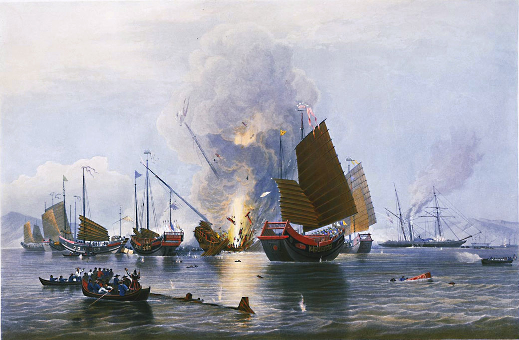An engagement in the First Opium War (1839-42), showing the 'Nemesis' (right background, in starboard broadside view) attacking a fleet of Chinese war junks in the middle ground. The war junk third from the left is shown being destroyed with splinters flying up into the air. Two rowing boats with Chinese passengers watch from the left foreground. Various men can be seen overboard and clinging on to debris throughout the scene.