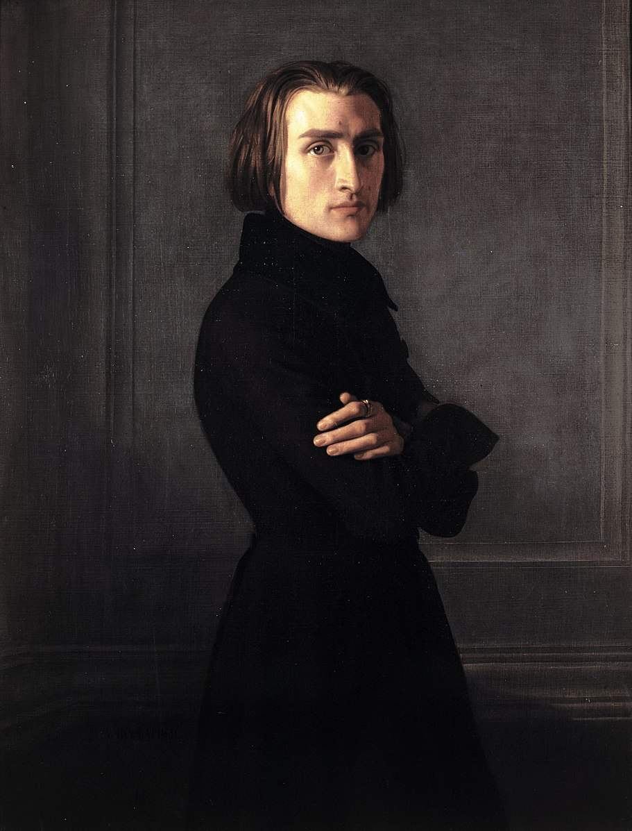 Franz Liszt all dressed in Black, looking like a stone cold hottie.