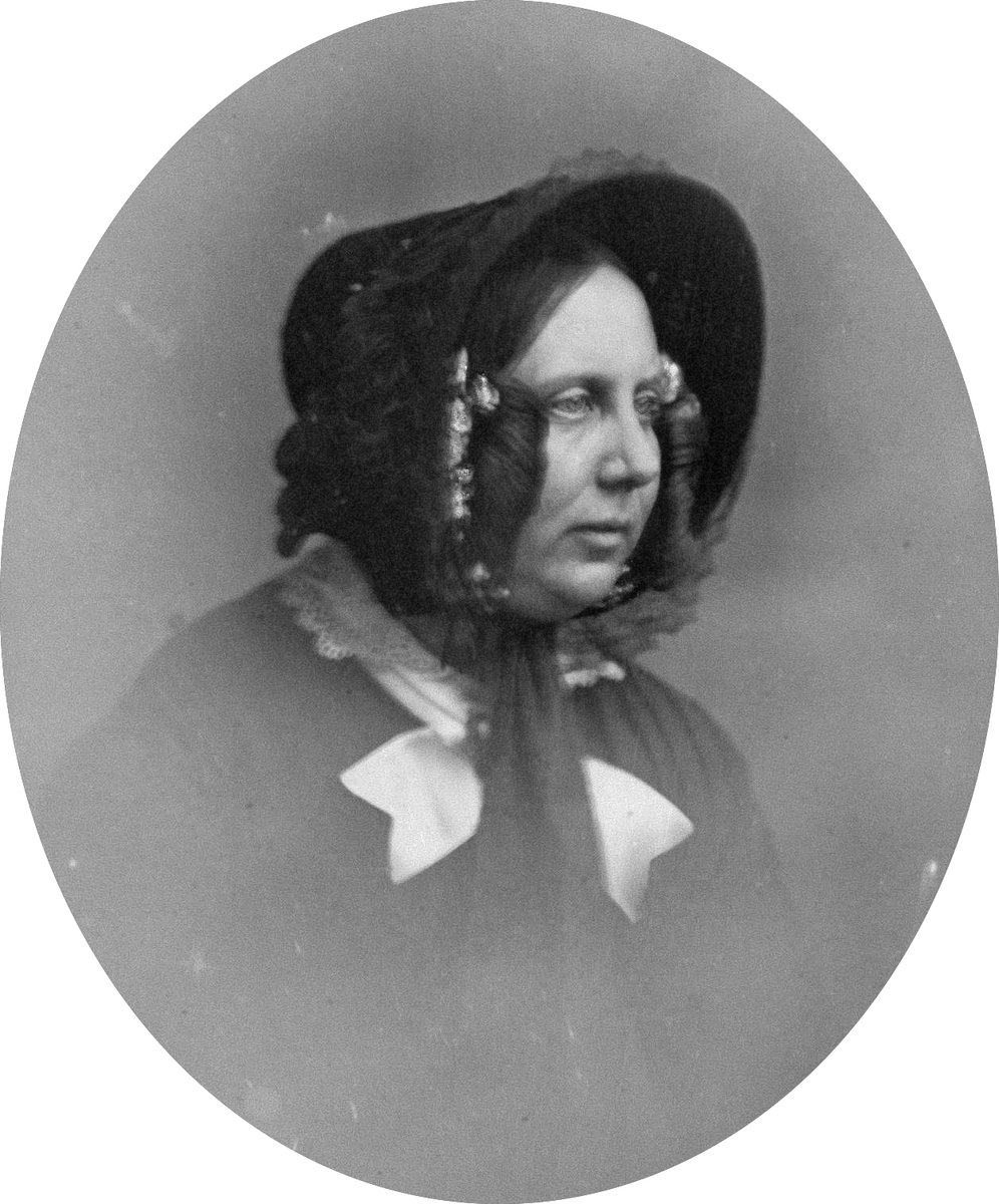 Catherine in 1853, in ringlets, older, with a bonnet.