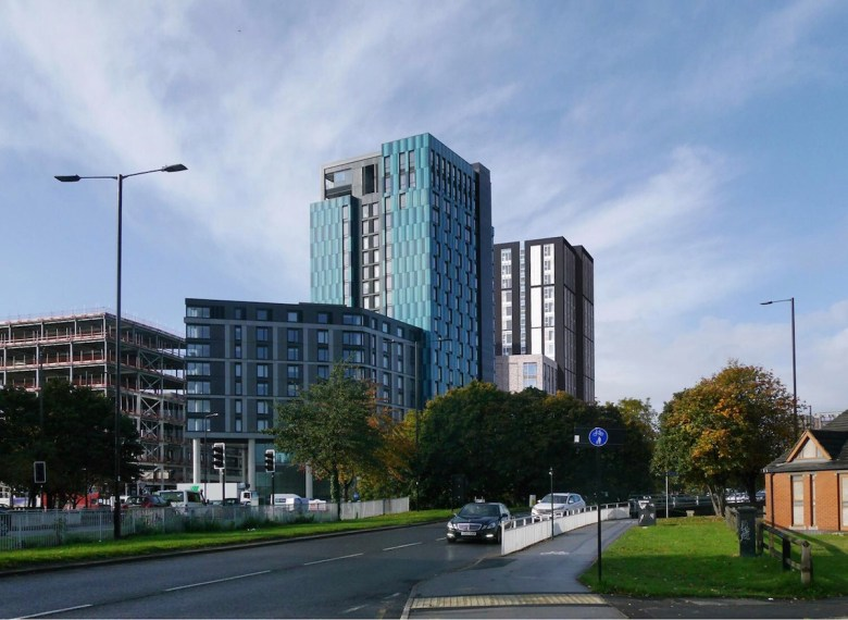 External view of the purpose-built student accommodation tower, Sheffield city centre - Code Architecture | PBSA News