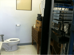 Data center located in bathroom