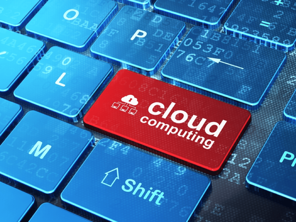 red cloud computing button on blue keyboard