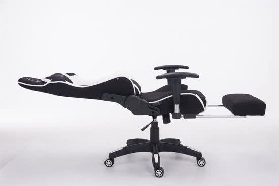 Clp Managerstoel TURBO directiestoel, Gaming chair met voetsteun, hoogte verstelbaar, ergonomisch, belastbaar tot 150 kg, stof - zwart/wit,