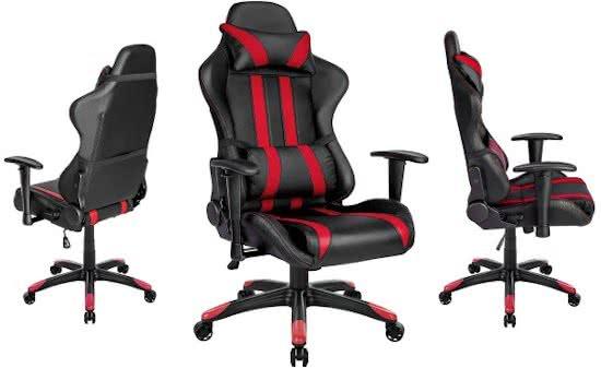 Gaming chair, bureaustoel Premium racing style zwart rood 402030
