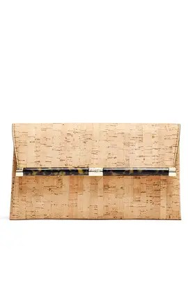 Diane von Furstenberg Handbags Metallic Cork Envelope Clutch