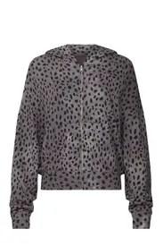 MONROW - Cheetah Print Zip Up Hoodie