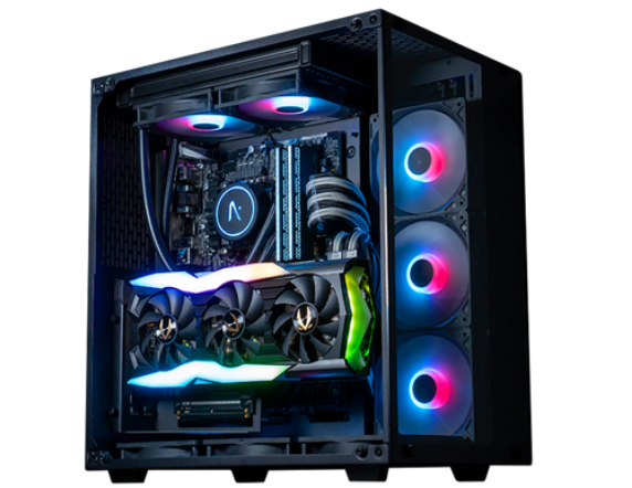 A custom PC with RGB lighting