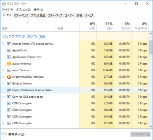 Windows10のタスクマネージャー