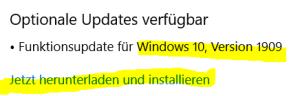 Funktionsupdate für Windows 10, Version 1909 jetzt verfügbar